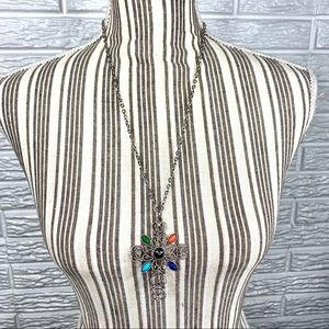 Vintage Avon Silver and Stone Cross Necklace